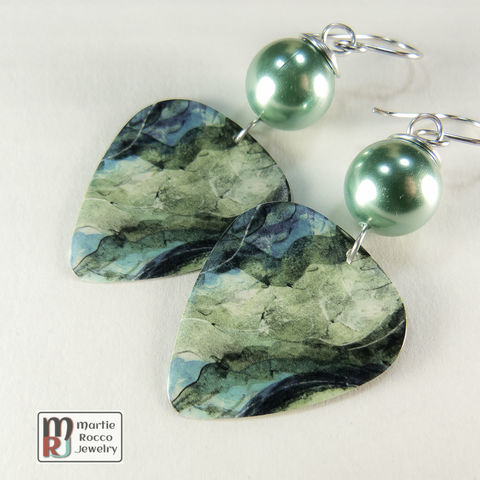 Abstract,blue,green,water,print,dangle,Guitar,Pick,Earrings,Abstract blue green water print Guitar Pick Earrings