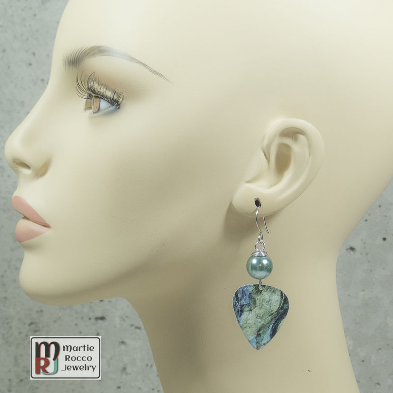 Abstract blue green water print dangle Guitar Pick Earrings - product images  of