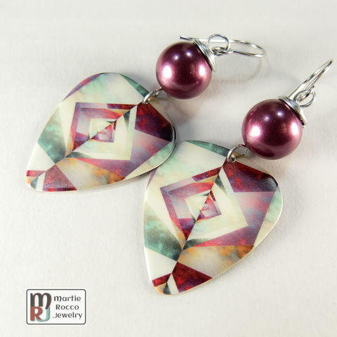 Multicolor,origami,print,Guitar,Pick,dangle,earrings,Mulitcolor modern origami print Guitar Pick earrings
