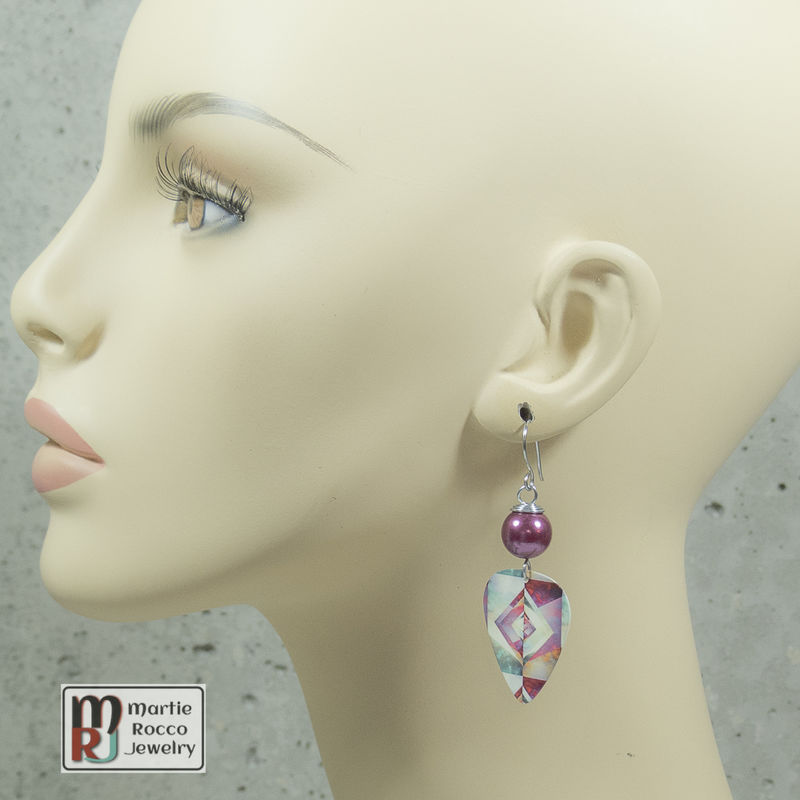 Multicolor origami print Guitar Pick dangle earrings - product images  of