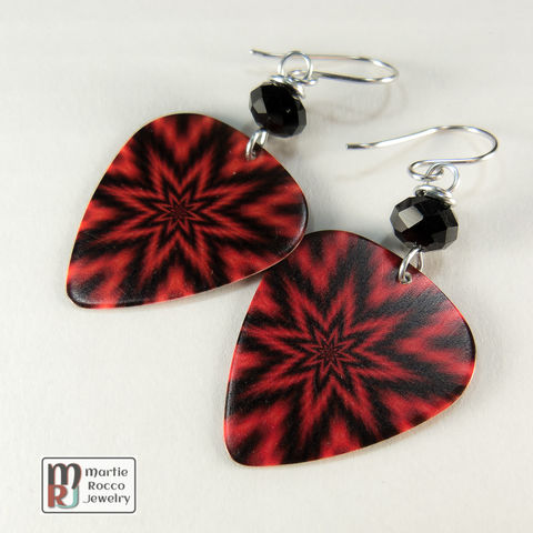 Red,and,black,fuzzy,star,burst,print,Guitar,Pick,dangle,Earrings,Red and black fuzzy star burst print Guitar Pick Earrings