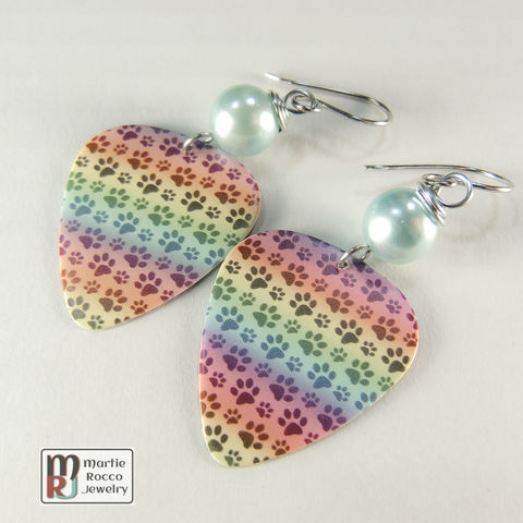 Rainbow,pet,paw,print,Guitar,Pick,dangle,earrings,Rainbow pet paw print Guitar Pick earrings