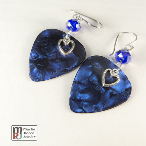 Blue,Pearl,Guitar,Pick,dangle,earrings,glass,bead,Blue Pearl Guitar Pick dangle earrings faceted blue glass bead