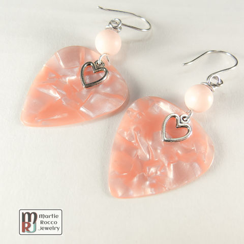 Peach,Pearl,Guitar,Pick,dangle,earrings,faux,pearl,bead,Peach Pearl Guitar Pick dangle earrings faux pearl bead