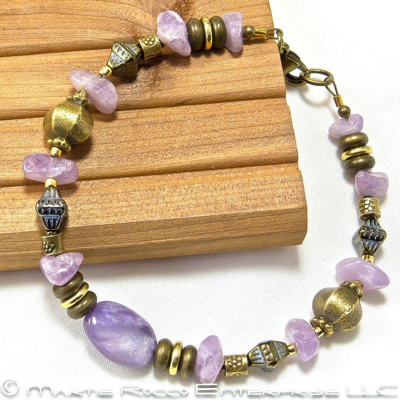 Chariot and lepidolite bracelet with antiqued brass beads - product images  of