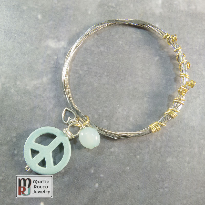 Guitar String Bangle with light Turquoise color Peace charm  - product images  of
