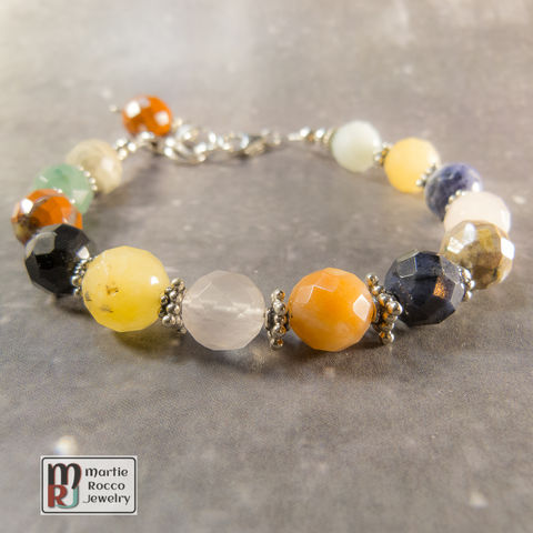 Multi,stone,bracelet,faceted,beads,with,sterling,silver