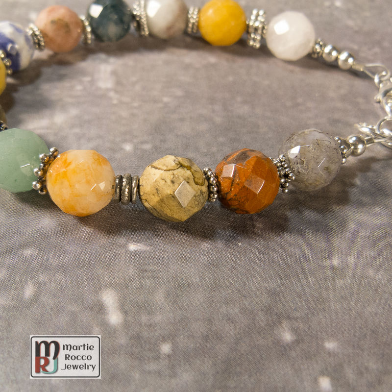 Faceted beaded multi stone bracelet with sterling silver - product images  of