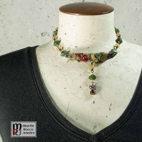 Silk,yarn,and,leather,choker,with,jade,beaded,chain, yarn, choker, necklace, vintage beads, multicolor,