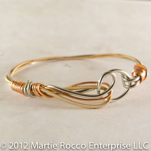 Guitar,String,Bangle,Bracelet,with,Phosphorous,bronze,strings,and,copper,wire,wrap
