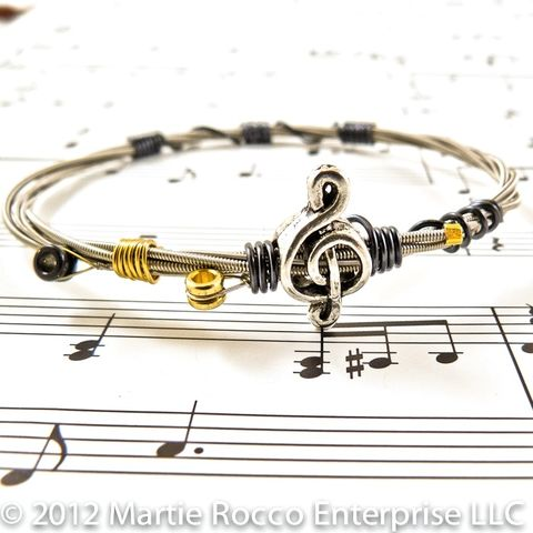 Guitar,String,bangle,black,hematite,color,wire,wrap,pewter,treble,music,bead,Guitar String bangle black wire wrap treble music bead