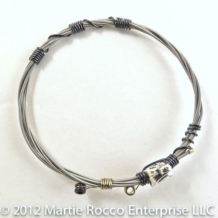 Guitar String bangle black hematite color wire wrap pewter treble music bead - product images  of