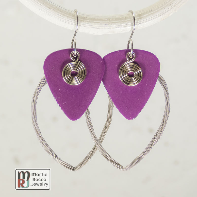 Guitar String earring large marque shape with purple guitar pick  - product images  of
