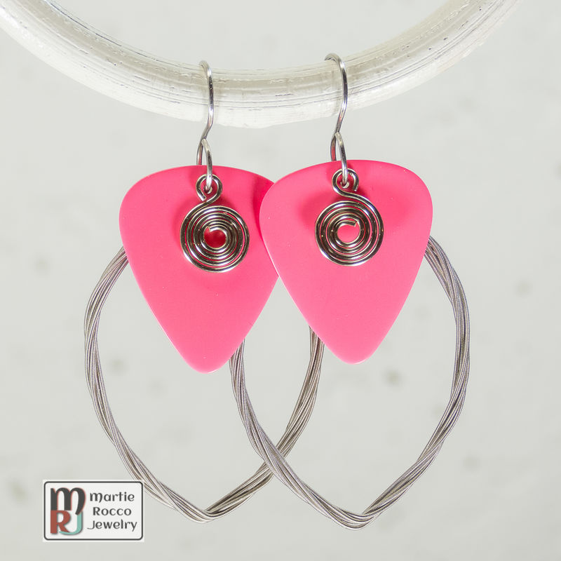Guitar String earring large marque shape with pink guitar pick  - product images  of