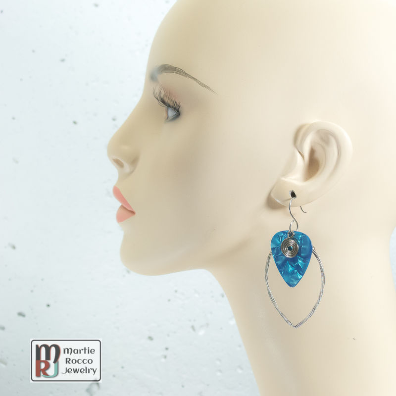 Guitar String earring large marque shape with turquoise guitar pick  - product images  of