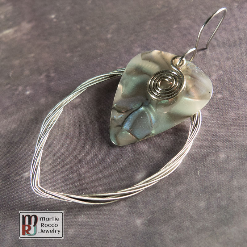 Guitar String earring large marque shape with abalone guitar pick  - product images  of