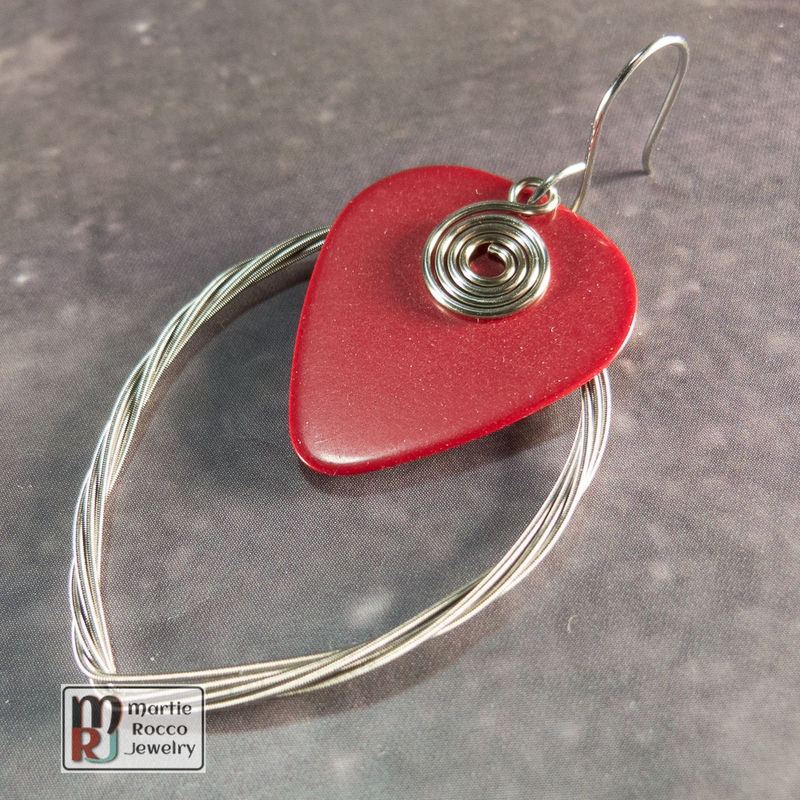 Guitar String earring large marque shape with plain red guitar pick  - product images  of