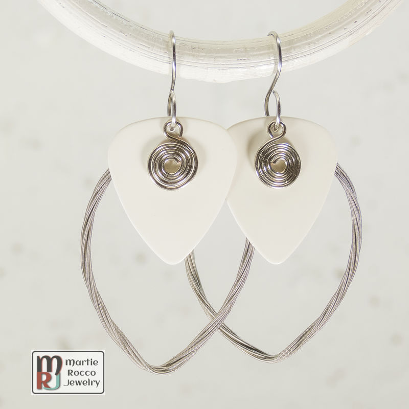 Guitar String earring large marque shape with plain white guitar pick  - product images  of