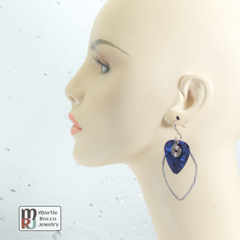 Guitar String earring large marque shape with blue pearl guitar pick  - product images  of
