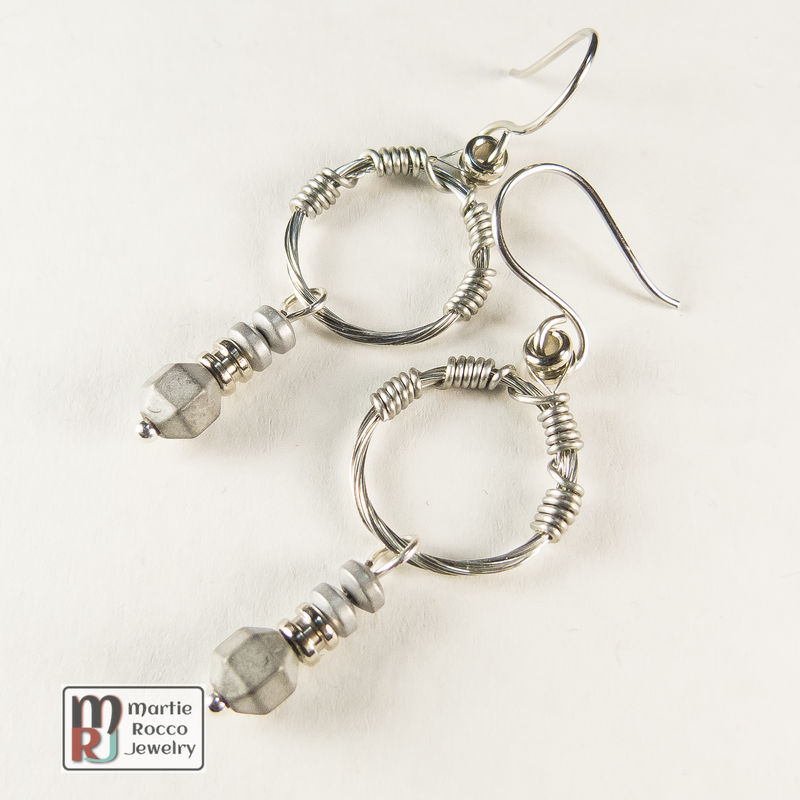 Small hoop Guitar String earrings with grey hematite drop beads  - product images  of
