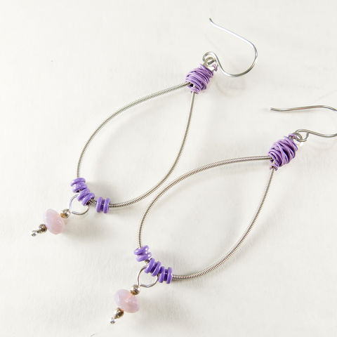 Long,purple,oval,Guitar,String,earrings,with,glass,bead,drop