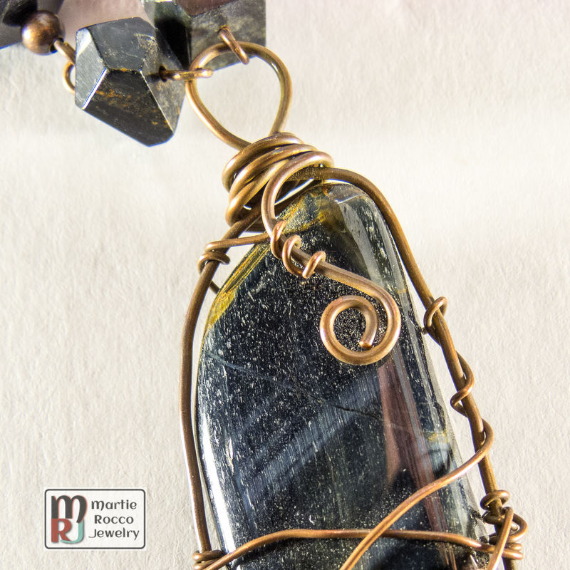 Red and Blue Tiger Eye wire wrapped necklace - product images  of
