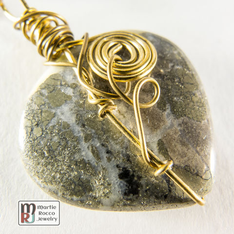 Pyrite,,Amazonite,and,brass,wire,wrapped,chain,necklace,Pyrite, Amazonite and brass wire wrapped chain necklace