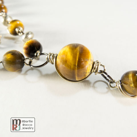 Tiger,Eye,bead,necklace,long,wire,wrapped.,Tiger Eye bead necklace long wire wrapped.