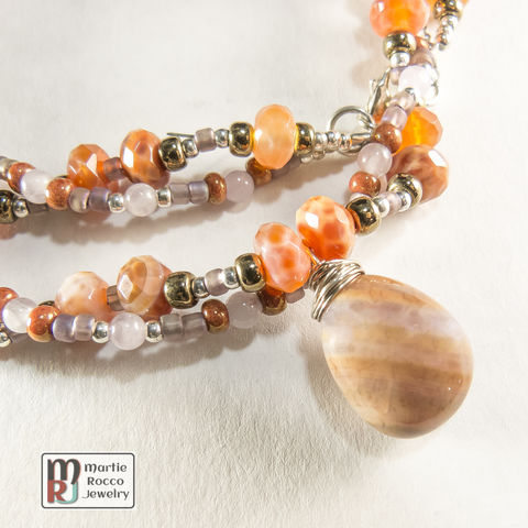 Fire,Agate,and,Lavender,Amethyst,multi-strand,necklace,Fire Agate and Lavender Amethyst multi-strand necklace