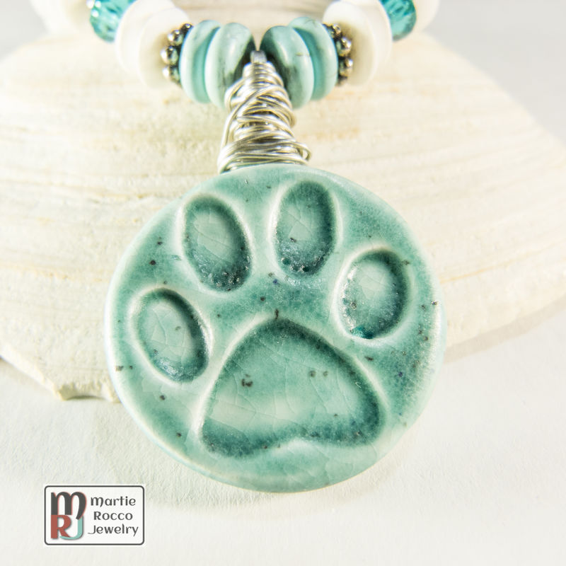 Pet paw ceramic necklace with dyed magnesite, crystals and bamboo jasper - product images  of