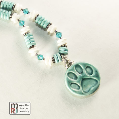 Pet,paw,ceramic,necklace,with,dyed,magnesite,,crystals,and,bamboo,jasper,Pet paw ceramic necklace with dyed magnesite, turquoise crystals and bamboo jasper