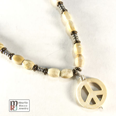 Riverstone,jasper,necklace,with,peace,symbol,pendant,Multi-color dyed jasper necklace with peace symbol pendant