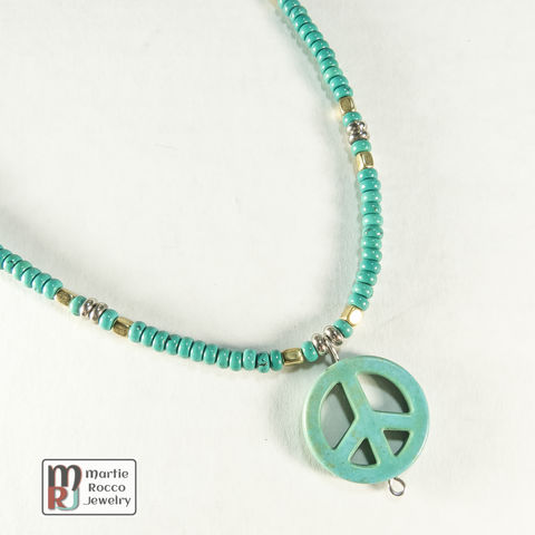 Peace,pendant,necklace,green,turquoise,and,brass,Peace pendant necklace green turquoise and brass