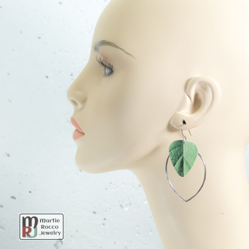 Guitar String hoop earrings with leaf print guitar pick charm. - product images  of
