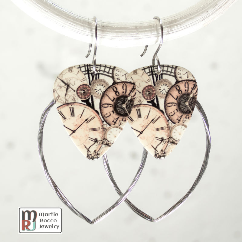 Guitar String hoop earrings with Steam Punk print guitar pick charm. - product images  of