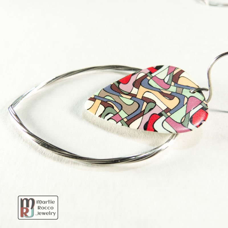 Guitar String hoop earrings with Stained glass print guitar pick charm. - product images  of