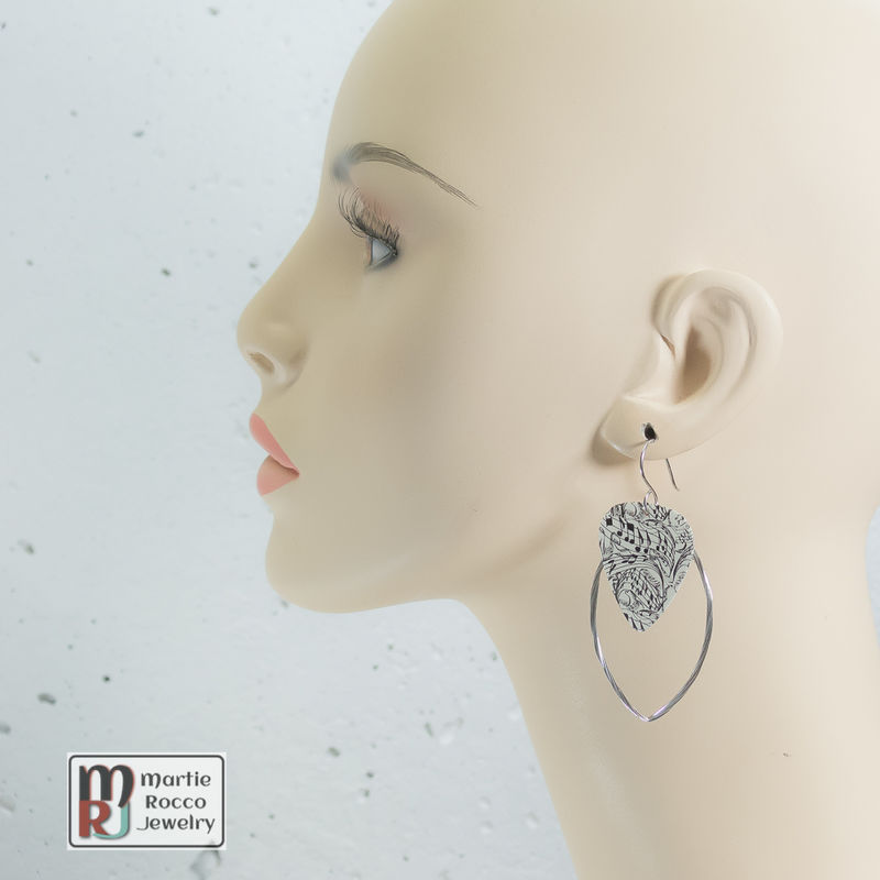 Guitar String hoop earrings with Music note print guitar pick charm. - product images  of