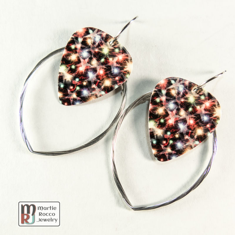Guitar String hoop earrings with Sparkling star print guitar pick charm. - product images  of