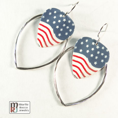 Guitar,String,hoop,earrings,with,Stars,and,stripes,print,guitar,pick,charm.,Guitar String hoop earrings with Stars and stripes print guitar pick charm.