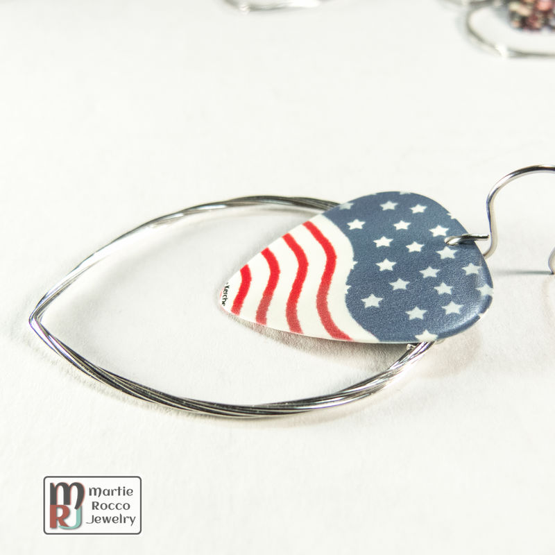 Guitar String hoop earrings with Stars and stripes print guitar pick charm. - product images  of