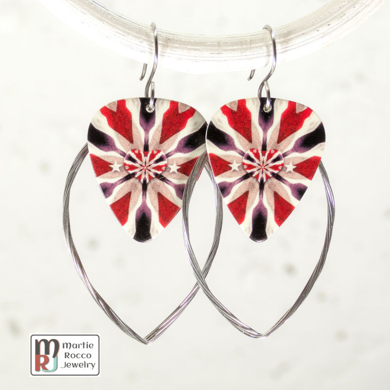 Guitar String hoop earrings patriotic print guitar pick charm. - product images  of