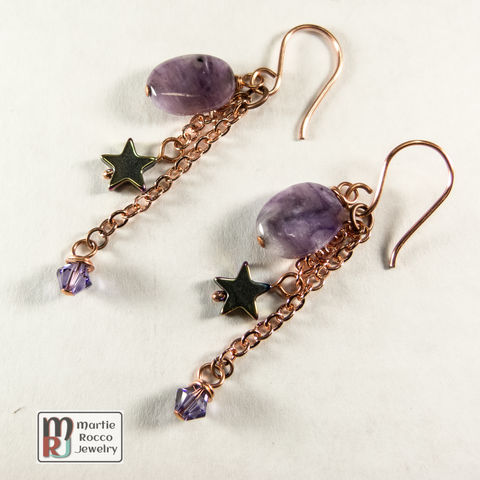 Charoite,and,crystal,crop,earrings,copper,chain,accents,Charoite and crystal crop earrings copper chain accents