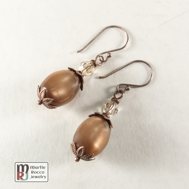 Vintage brown acrylic moonglow bead drop earring crystal antique copper  - product images  of