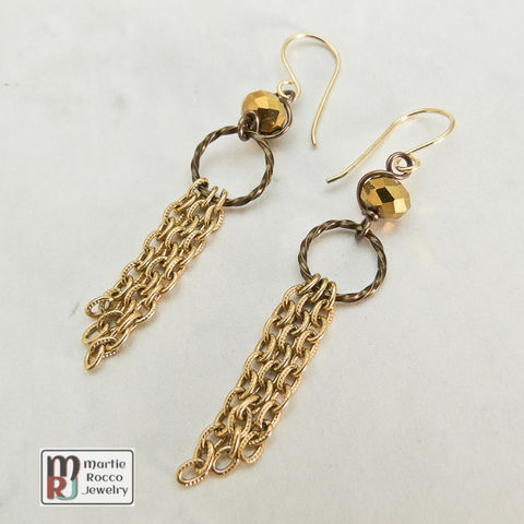 Gold,mirrored,faceted,glass,and,chain,dangle,earring,Gold mirrored faceted glass and chain dangle earring