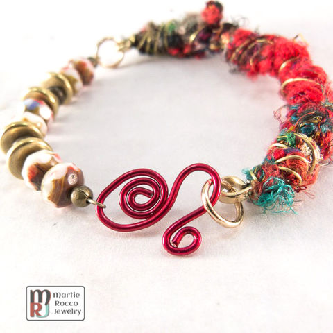 Recycled,Red,Silk,Sari,yarn,bracelet,wire,wrapped,and,glass,beads.,434FB, Red Silk Sari, yarn, bracelet, wire wrapped, glass beads