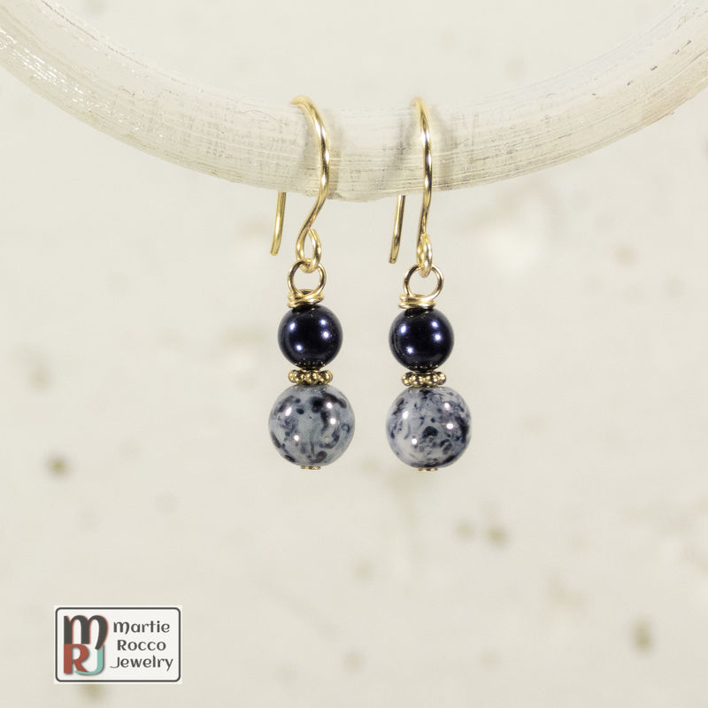 Navy Blue and gold dangle earrings - product images  of