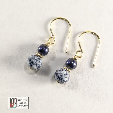 Navy,Blue,and,gold,dangle,earrings