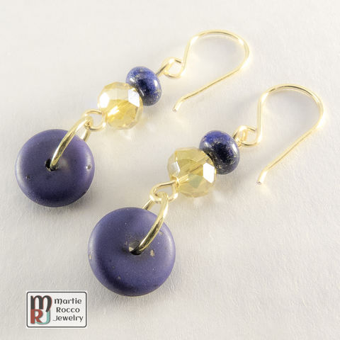 Blue,resin,,lapis,lazuli,and,faceted,glass,earrings.
