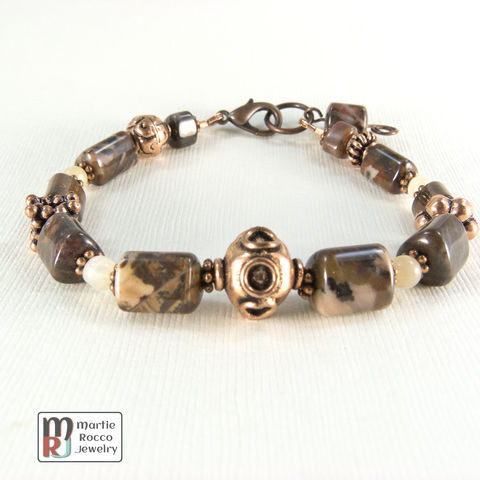Turtle,Jasper,bracelet,with,moonstone,and,copper,beads,Turtle Jasper bracelet moonstone and copper BR301