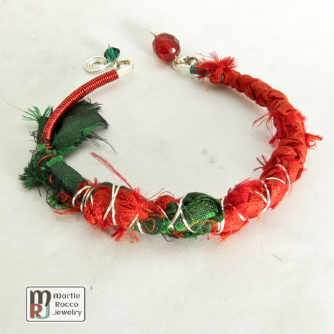 Red,and,Green,silk,sari,wrapped,bangle,with,silver,wire,baubles,Red and Green silk sari wrapped bangle with silver wire and baubles